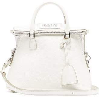 Maison Margiela 5ac Small Grained-leather Shoulder Bag - Womens - White
