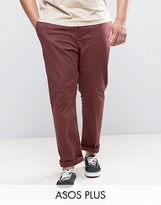 Asos Plus Slim Chinos In Burgundy