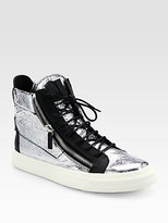 Giuseppe Zanotti Crackle Foil High-Top Sneakers