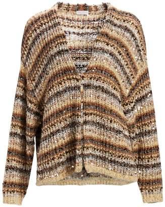 Brunello Cucinelli Striped Paillette Knit Cardigan