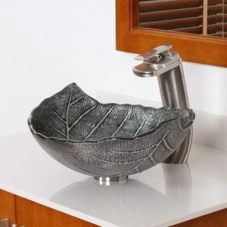 Elite Hot Melted and Hand Painted Winter Leaf Bowl Specialty Glass Specialty Vessel Bathroom Sink Drain Finish: Brushed Nickel