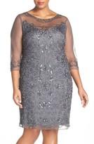 Pisarro Nights Plus Size Women's Illusion Neck Beaded Shift Dress