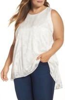 Vince Camuto Plus Size Women's Sheer Clipped Dot Sleeveless Top