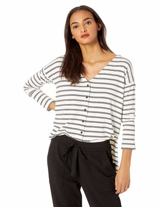 Cupcakes And Cashmere Women's Roxanna Striped Rayon Button Front top