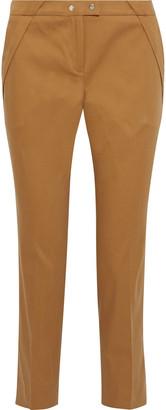 BA&SH Pleated Stretch-cotton Twill Slim-leg Pants