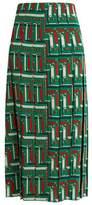 Gucci Chain-print pleated silk skirt