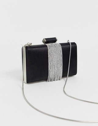 True Decadence black satin box crossbody bag with silver chain