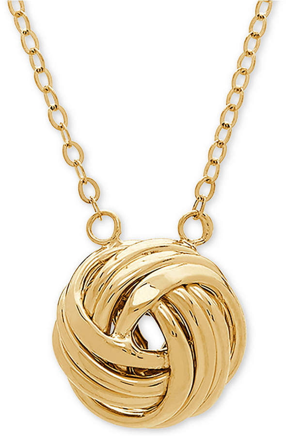 "Macy's Love Knot 18"" Pendant Necklace in 14k Gold"