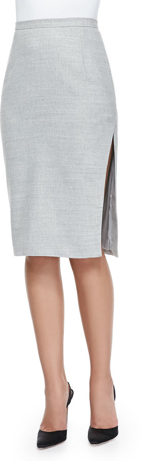 Altuzarra Asymmetric-Slit Iconic Pencil Skirt, Gray
