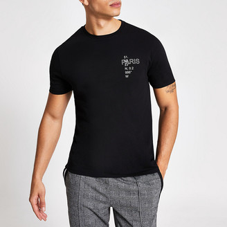 River Island Black printed slim fit short sleeve T-shirt