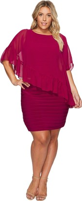 Adrianna Papell Women's Plus Size Banded Sheath Dress with Ruffle Cape