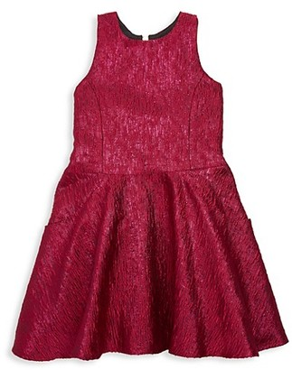Zoë Ltd Girl's Reign in Royal Rea Metallic Brocade Swing Dress