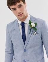 Jack and Jones regular fit suit jacket in blue linen