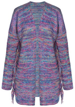 You By Tokarska Frida Fringed Cardigan Multicolour Blue