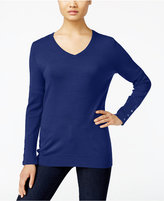 JM Collection V-Neck Button-Cuff Sweater, Only at Macy's