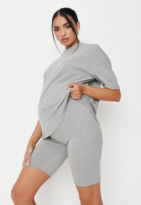 Missguided Gray Maternity T Shirt And Biker Shorts Co Ord Set