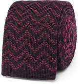 Etro Reversible Jacquard-knit Wool Tie - Burgundy