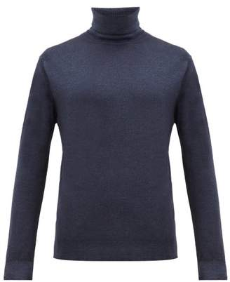 Altea Garment Dyed Virgin Wool Roll Neck Sweater - Mens - Navy