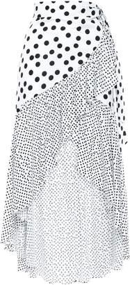 De La Vali Asymmetric Wrap-effect Ruffled Satin Mini Skirt