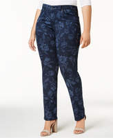 Charter Club Plus Size Audra Printed Straight-Leg Jeans, Created for Macy's