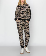 Kimberly C Women's Casual Pants Army - Army Gray Camo Active Crop Hoodie & Joggers - Women