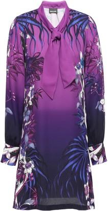 Just Cavalli Tie-neck Printed Crepe Mini Dress