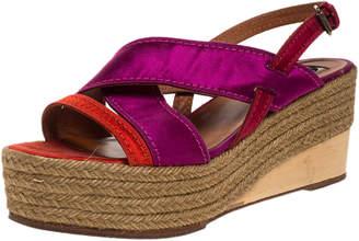 Lanvin Tricolor Satin Espadrille Wedge Platform Ankle Strap Sandals Size 41