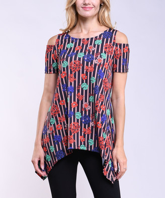 Lbisse Women's Tunics Multi - Navy & Coral Floral & Stripe Shoulder-Cutout Sidetail Tunic - Women & Plus