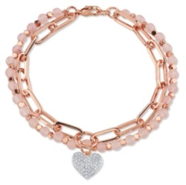 Unwritten Genuine Rose Quartz Fine Plated Silver Double Strand Crystal Heart Charm Link Bracelet