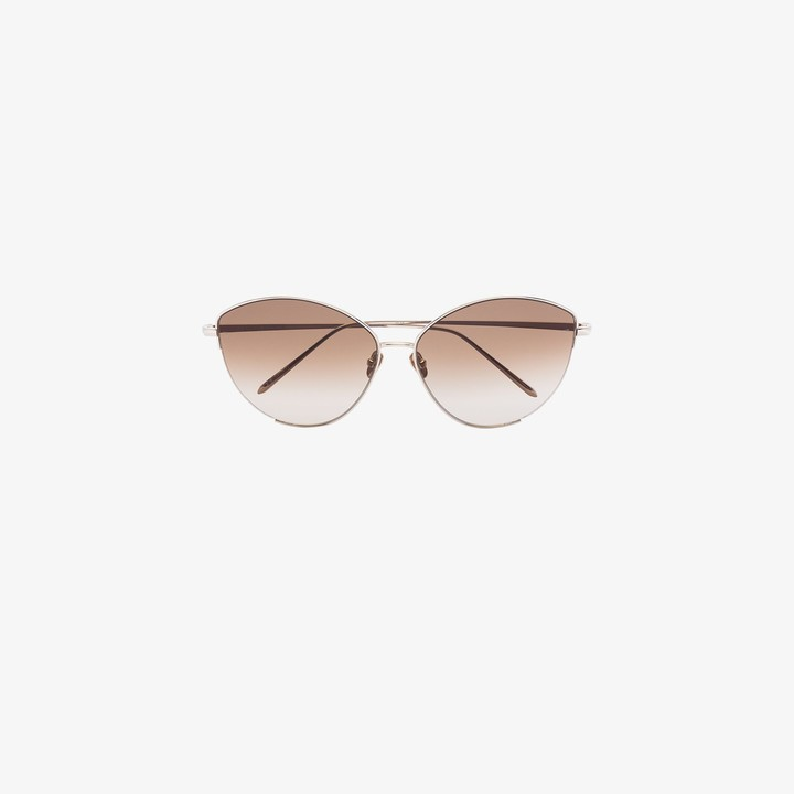 Linda Farrow 22K gold-plated Ella cat eye sunglasses