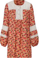 Anna Sui Cream-Multi Cotton Flower Bed Dress