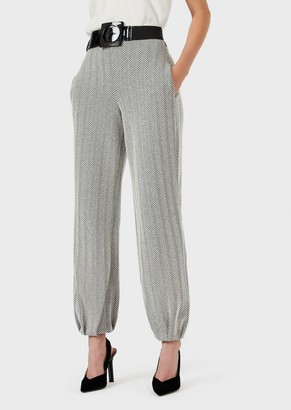 Emporio Armani Jersey Trousers With Embossed Chevron Motif And Elasticated Hems
