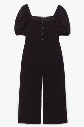 Nasty Gal Womens Puff and Ready Button-Down Culotte Jumpsuit - Black - 6, Black
