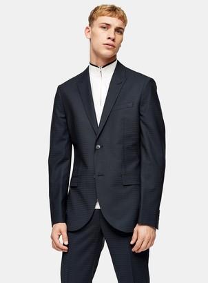Topman Premium Navy Gingham Check Skinny Fit Single Breasted Blazer With Peak Lapels