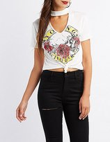 Charlotte Russe Choker Neck Knotted Graphic Tee