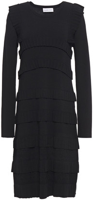 Carven Tiered Pleated Stretch-knit Dress