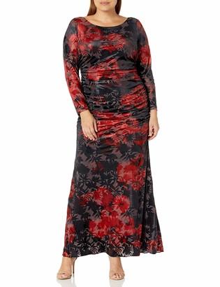 Adrianna Papell Women's Plus-Size L/s Velevt Burnout Floral Gown Plus