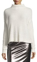Milly Cashmere Cloud Mock-Neck Pullover, White