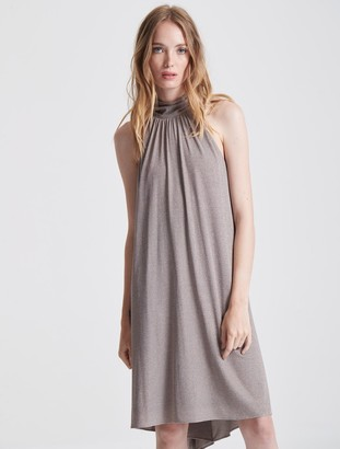 Halston Mock Neck Metallic Knit Dress