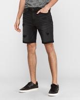 Express Black Ripped Hyper Stretch Jean Shorts