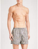 Sunspel Frog-print Relaxed-fit Silk Boxer Shorts