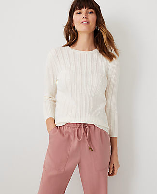 Ann Taylor Ribbed Pointelle Sweater