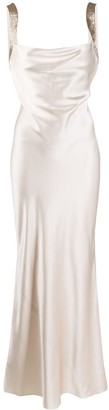 Amanda Wakeley Draped Sequin Evening Gown