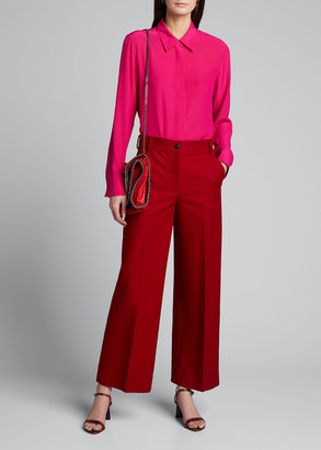 Stella McCartney Collared Silk Long-Sleeve Shirt