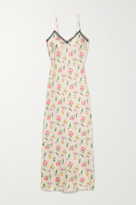 Morgan Lane Lexi Lace-trimmed Floral-print Stretch-silk Charmeuse Nightdress - Cream
