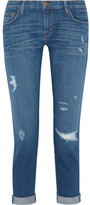 Current/Elliott The Fling Distressed Slim Boyfriend Jeans - Mid denim
