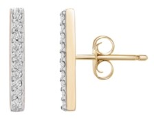 Wrapped Diamond Bar Stud Earrings (1/10 ct. t.w.) in 14k Yellow Gold, Created for Macy's