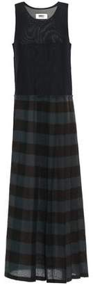 MM6 MAISON MARGIELA Paneled Stretch-mesh And Checked Wool-gauze Maxi Dress