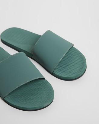 Indosole - Women's Green Flat Sandals - ESSENTLS Slides - Women's - Size 8/9 at The Iconic
