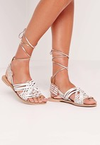 Missguided Real Leather Woven Slingback Flat Sandals White/Rose Gold